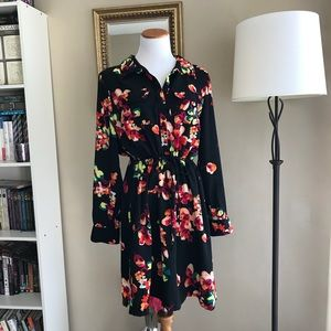 Black Collared Floral Pattern Cinch Waist Dress